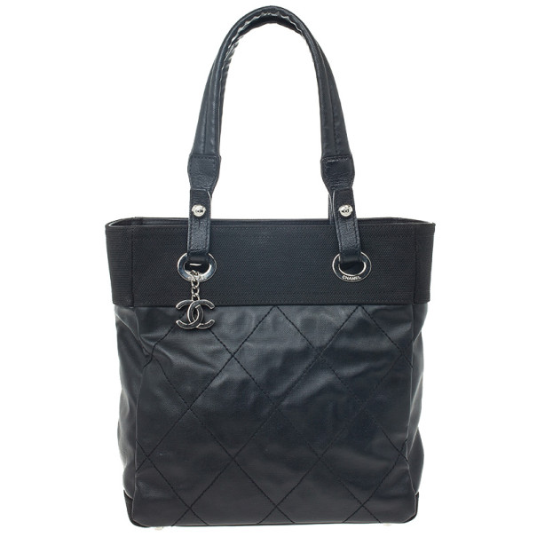 fb016f0827 Chanel Black Paris Biarritz Medium Shopping Tote Bag