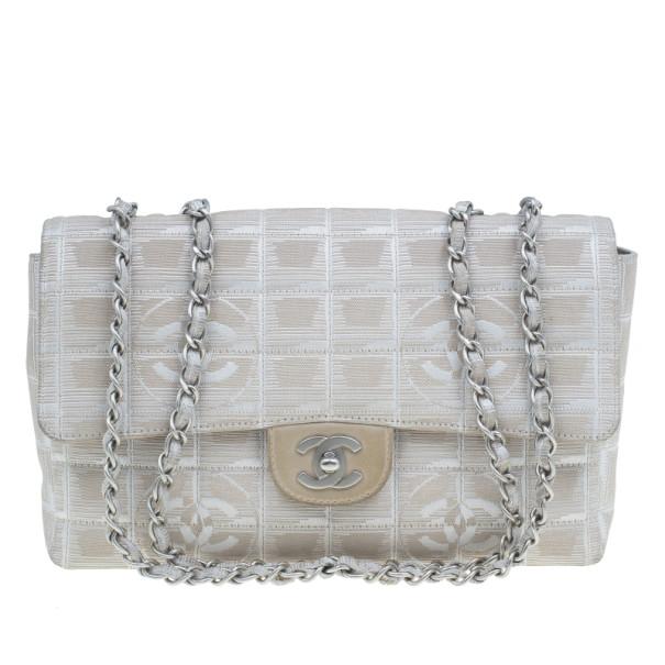 b331cb698e8d3a Buy Chanel Beige Canvas CC Logo Travel Line Flap Shoulder Bag 2906 at best  price | TLC
