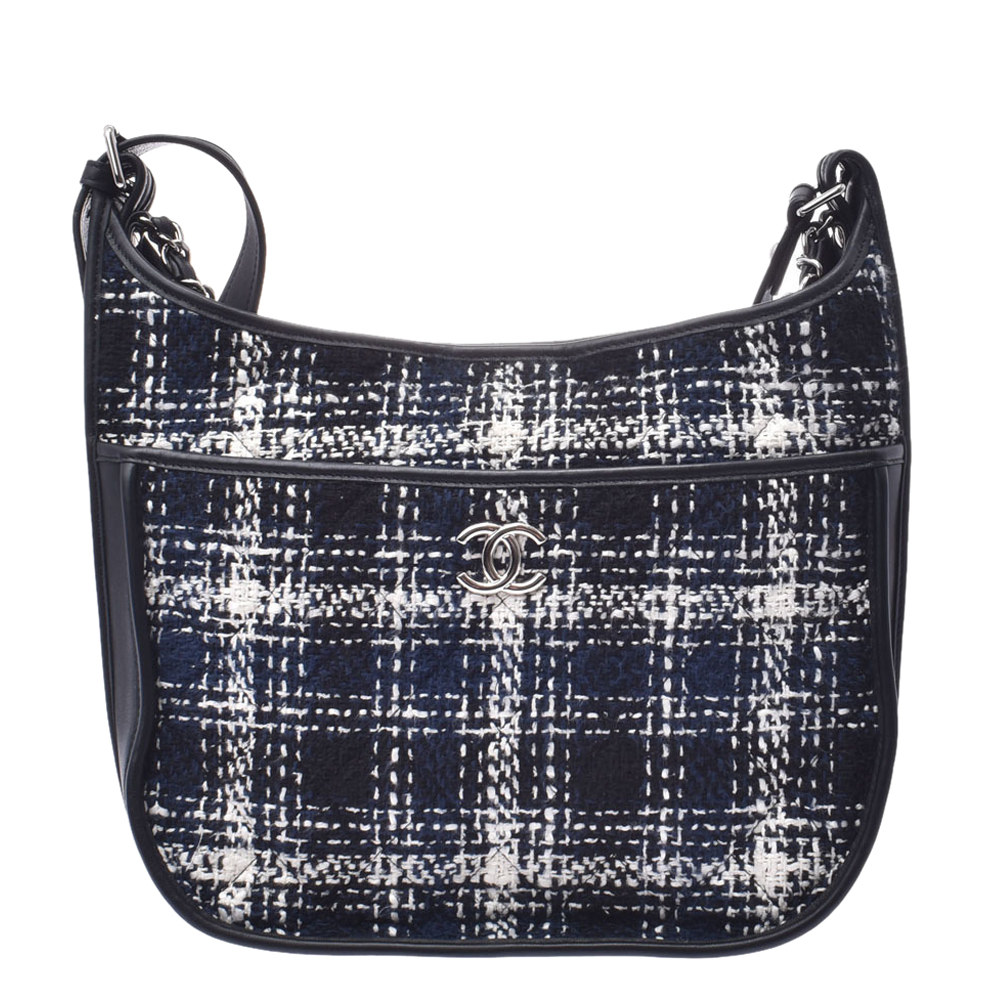 Chanel Black/Navy Blue Tweed And Calf Leather Shoulder Bag