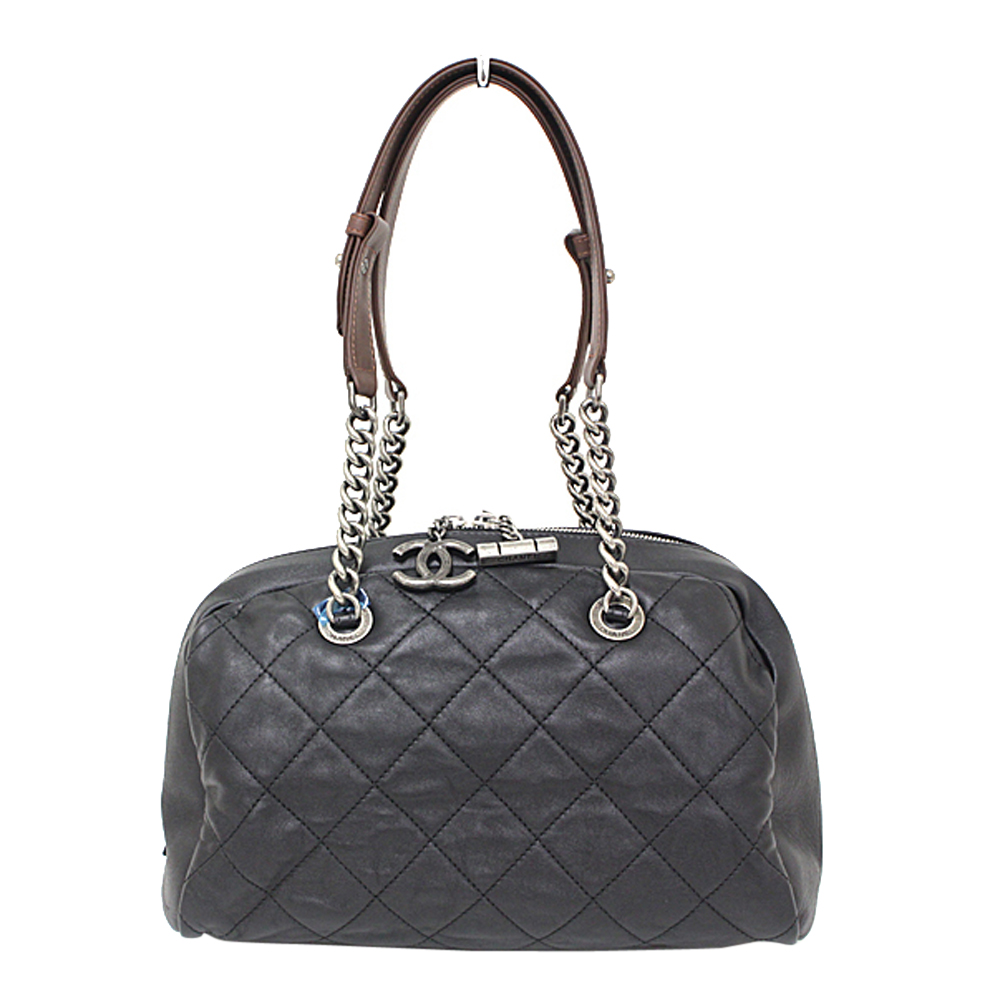 Chanel Black Quilted Leather CC Bowling Bag