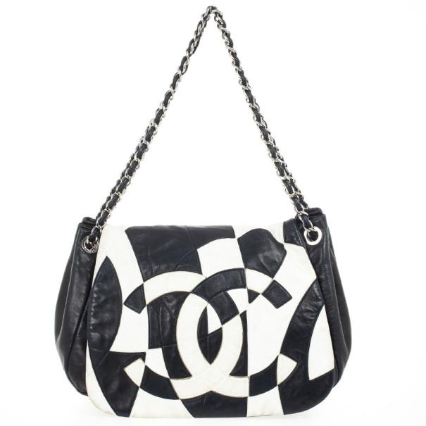 5f23da4f0e7e Chanel Black And White Patchwork Soft Flap Bag 29632 At Best