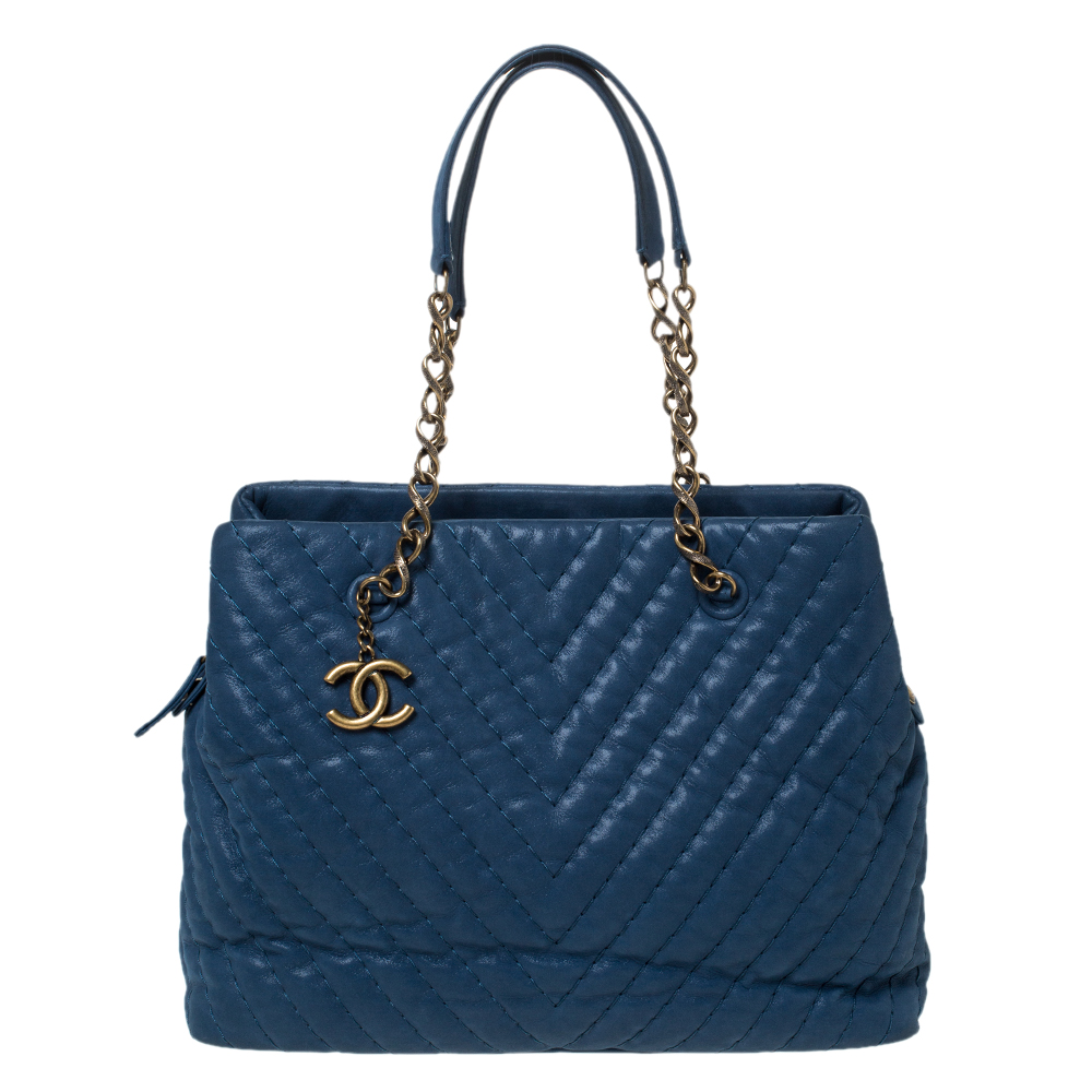 Chanel Blue Iridescent Chevron Leather Chain Bag