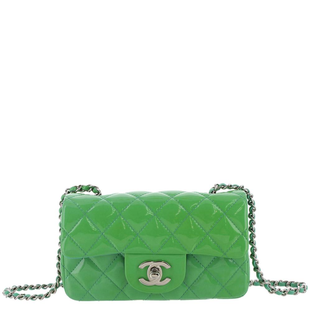 Chanel Green Patent Leather Classic Mini Single Flap Bag