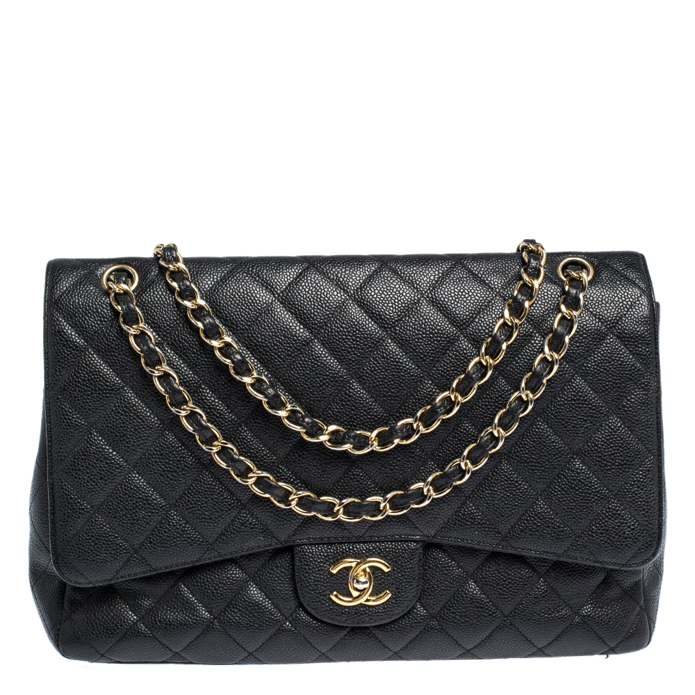 Chanel Black Quilted Caviar Leather Maxi Classic Single Flap Bag