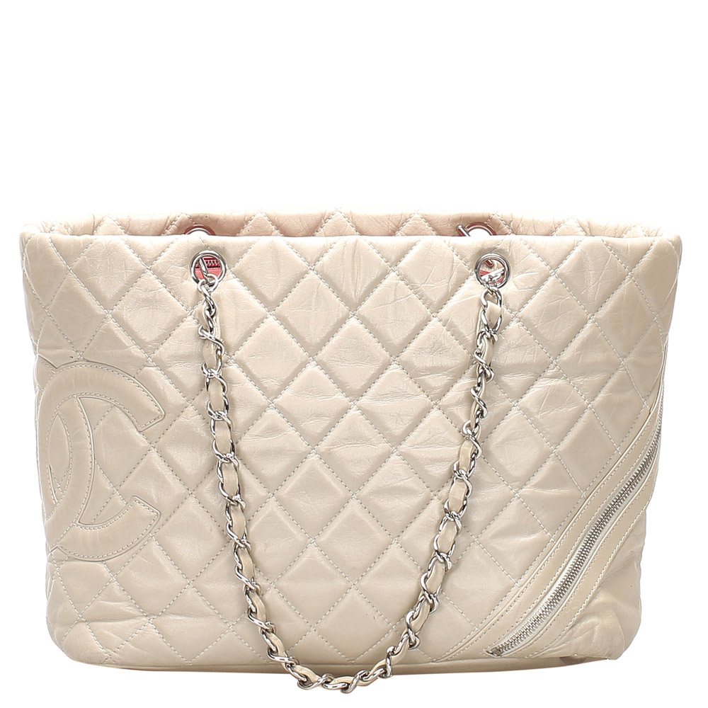 Chanel Grey Lambskin Leather Ligne Cambon Tote Bag