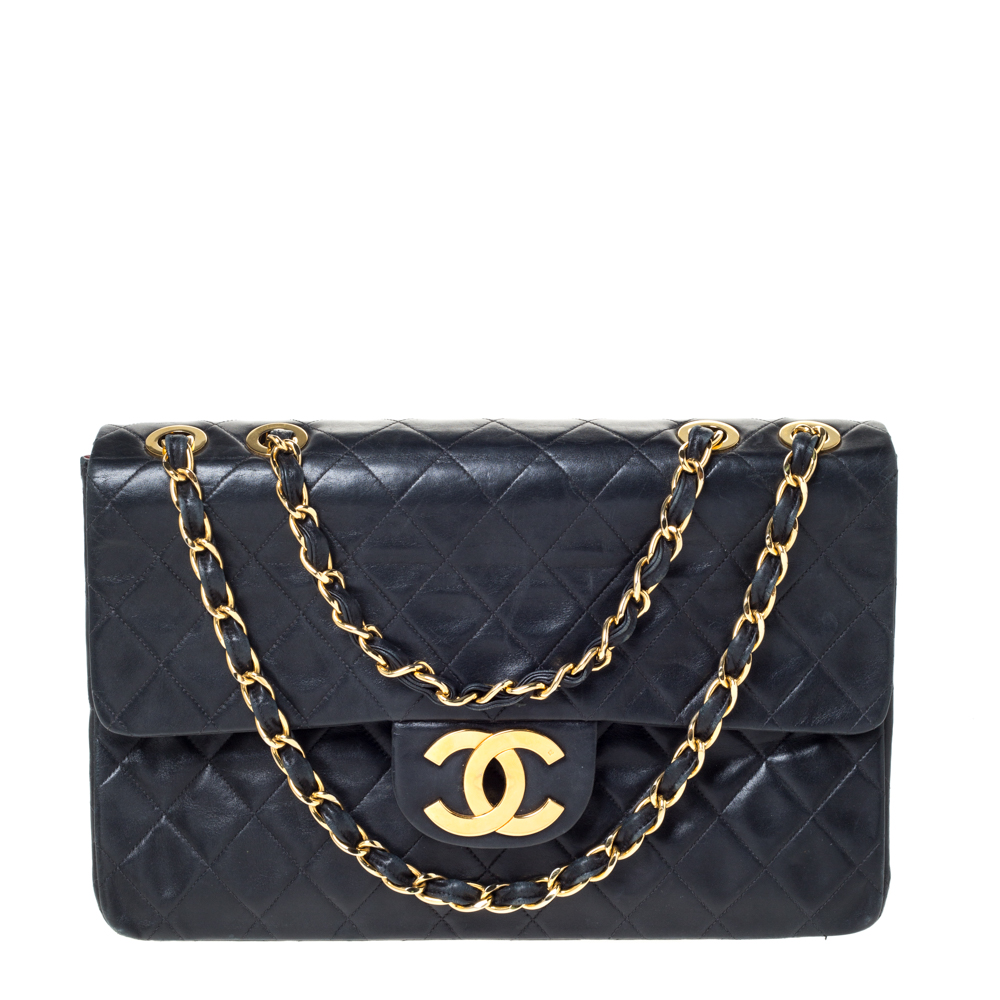 Chanel Black Quilted Lambskin Leather Maxi Vintage Classic Single Flap Bag