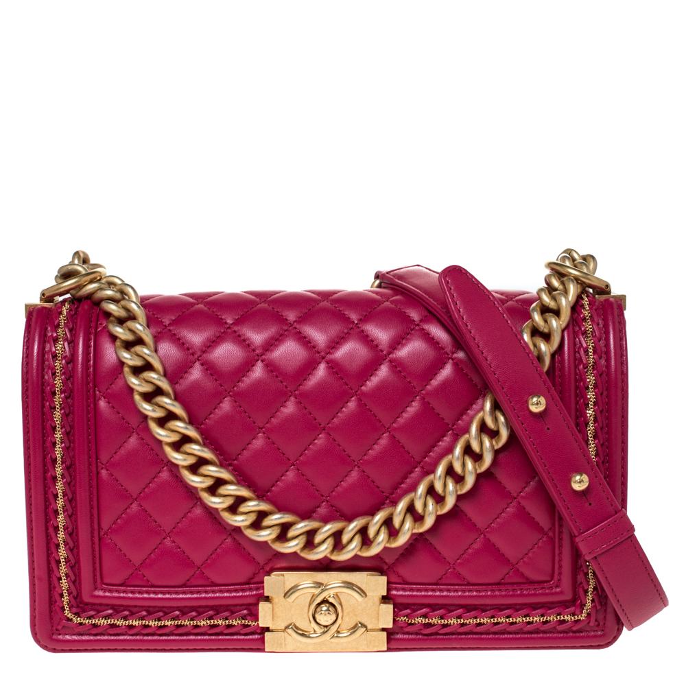 Chanel Magenta Leather Medium Chain Around Boy Flap Bag