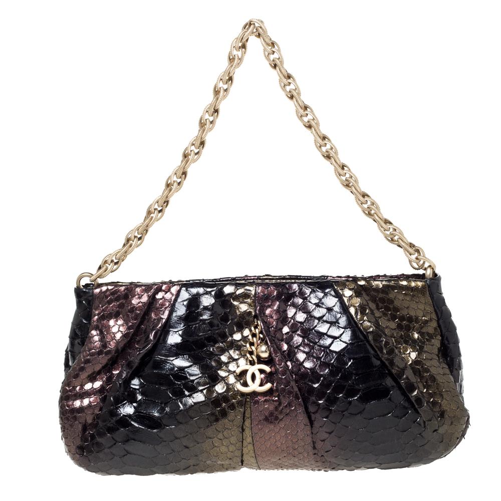 Chanel Metallic Multicolor Pleated Python CC Chain Frame Bag