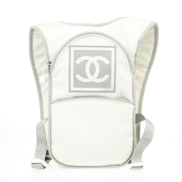 8d5614a44 Buy Chanel White Nylon Sport Flat Backpack Bag 31399 at best price | TLC