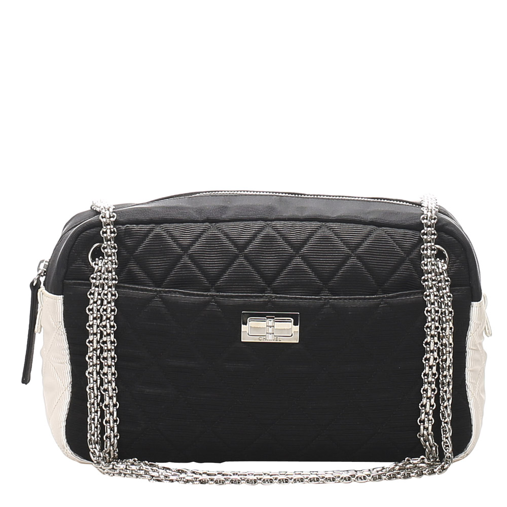 Pre-owned Chanel Black/white Nylon Grosgrain Reissue Shoulder Bag