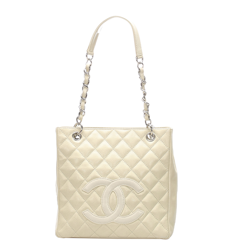 Pre-owned Chanel Cream Caviar Leather Small Pst Totes