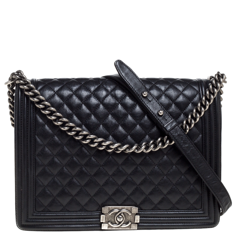 Pre-owned Chanel Black Quilted Leather Large Boy Flap Bag