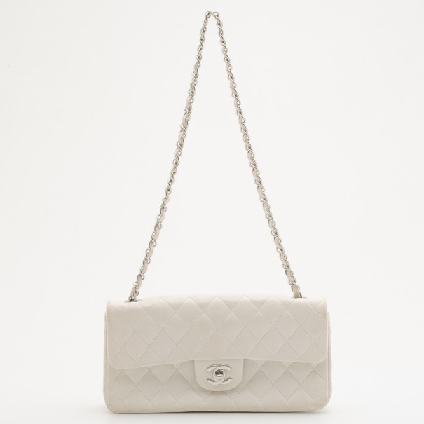 Chanel White Quilted Lambskin Leather East/West Classic Flap Bag