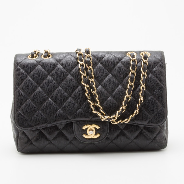 2a6a92147311 Buy Chanel Black Caviar Jumbo Classic Flap Bag 35209 at best price | TLC