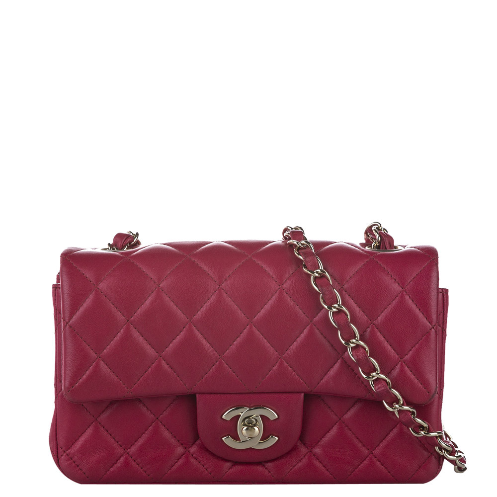 Pre-owned Chanel Red Lambskin Leather Mini Classic Flap Bag