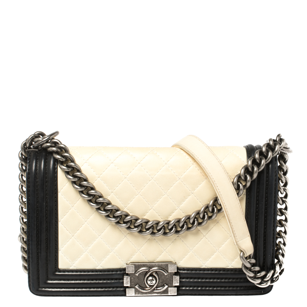 Chanel White/Black Quilted Leather Medium Boy Flap Bag