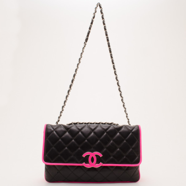 6991cca8689 Buy Chanel Black and Neon Pink Two Tone Quilted Flap Bag 36987 at best  price