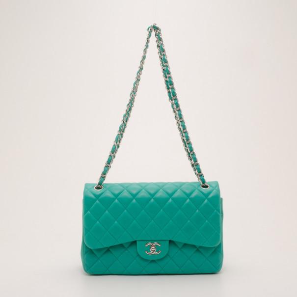 6de629318b1dae Buy Chanel Mint Lambskin Jumbo Flap Bag 36995 at best price | TLC