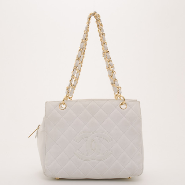 Chanel White Quilted Petite Timeless Tote