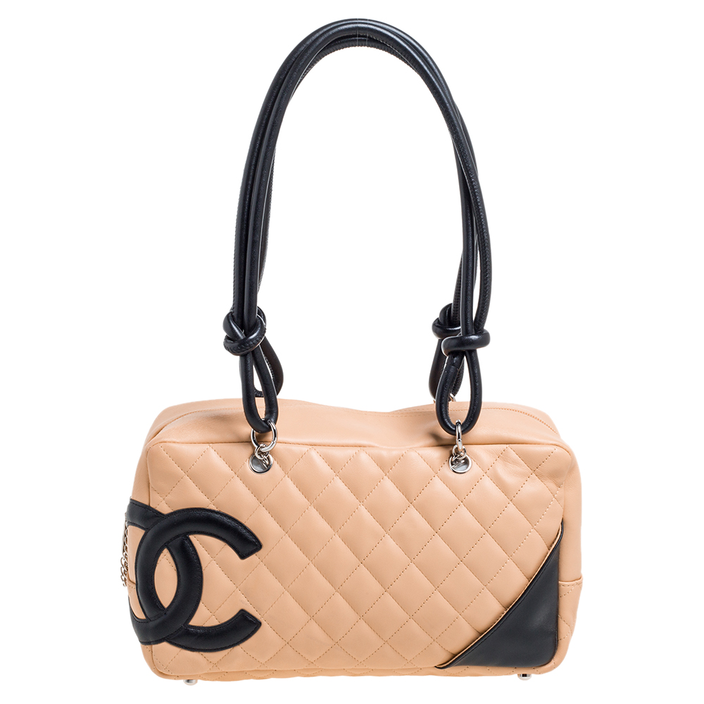Pre-owned Chanel Beige/black Quilted Leather Ligne Cambon Bag