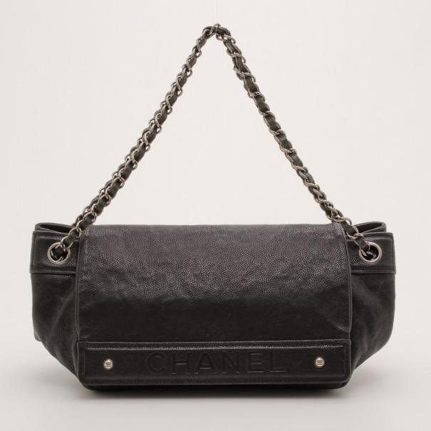 Chanel Black Caviar Leather Outdoor Ligne Accordian Flap Bag