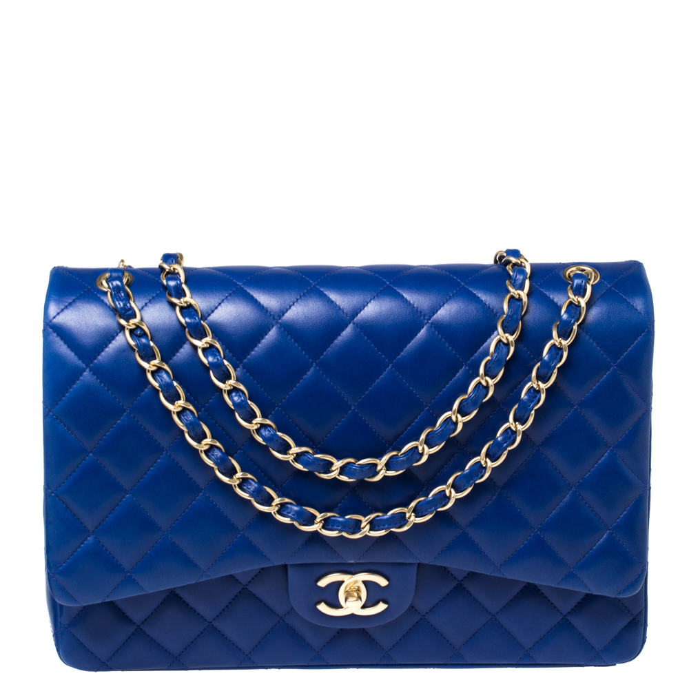 Pre-owned Chanel Blue Quilted Leather Maxi Classic Double Flap Bag