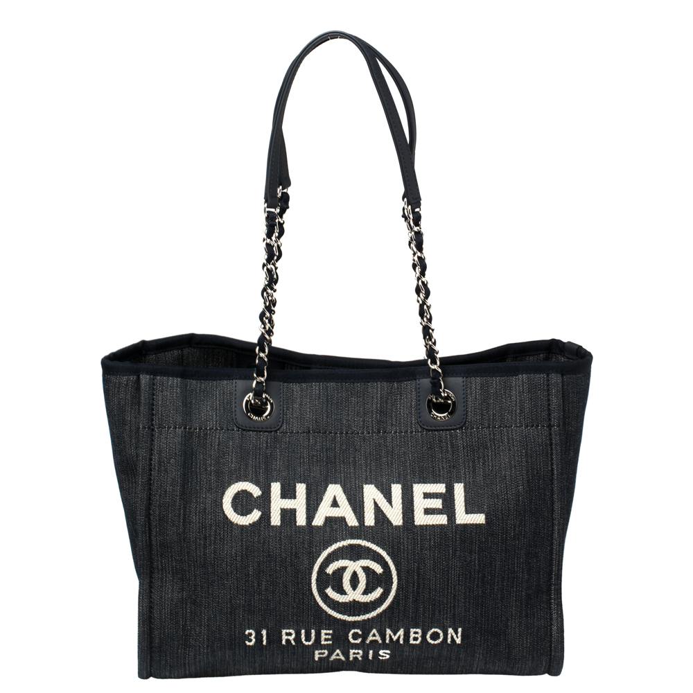 Pre-owned Chanel Navy Blue Denim Medium Deauville Shopper Tote