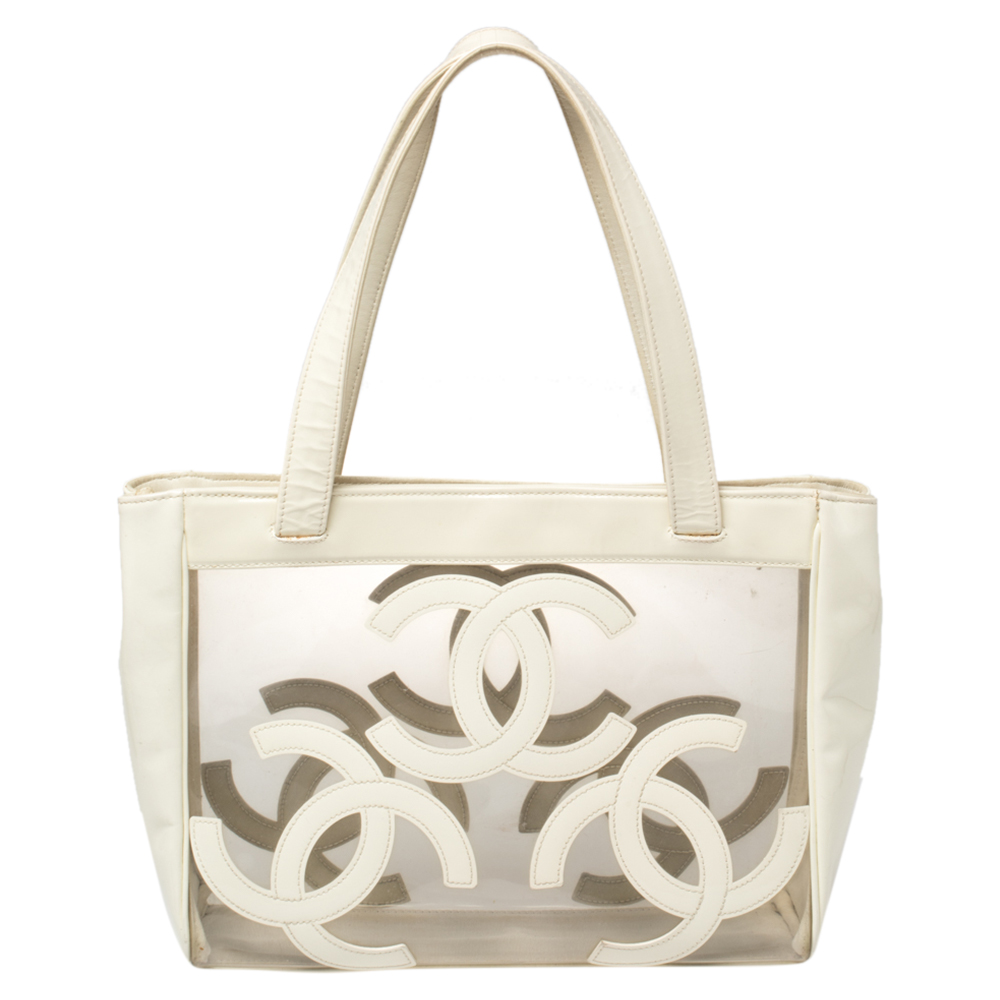 Pre-owned Chanel White Pvc And Patent Leather Medium Triple Cc Tote