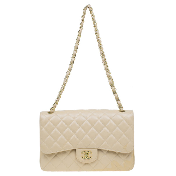 b5c04d84140b ... Chanel Beige Quilted Caviar Leather Classic Jumbo Double Flap Bag.  nextprev. prevnext
