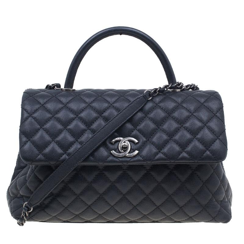 24f889cdd Buy Chanel Black Calfskin Coco Handle Flap Bag 39325 at best price | TLC