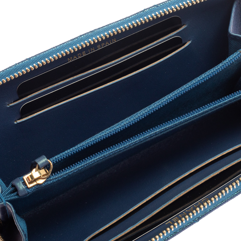 Chanel Metallic Blue Caviar Leather Medium CC Zip Around Wallet  - buy with discount