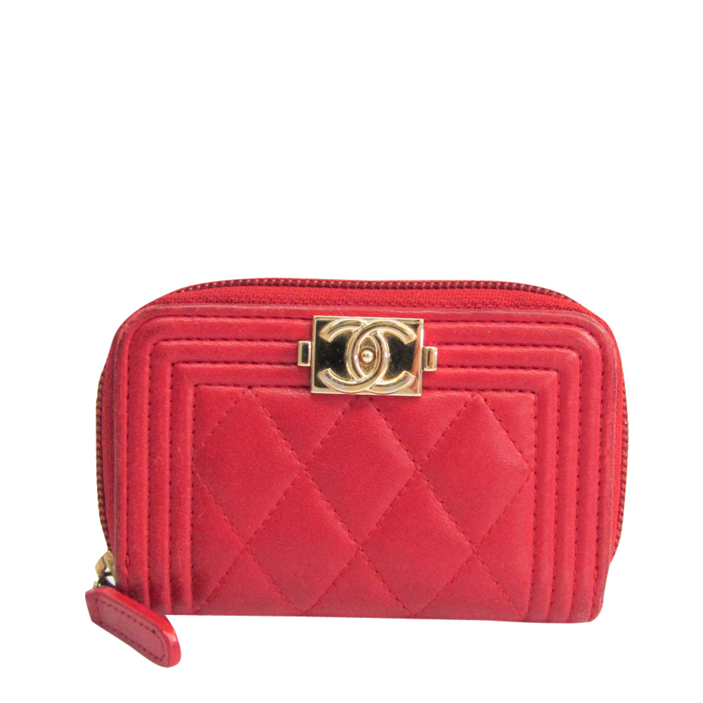 Pre-owned Chanel Red Leather Boy Small Wallet