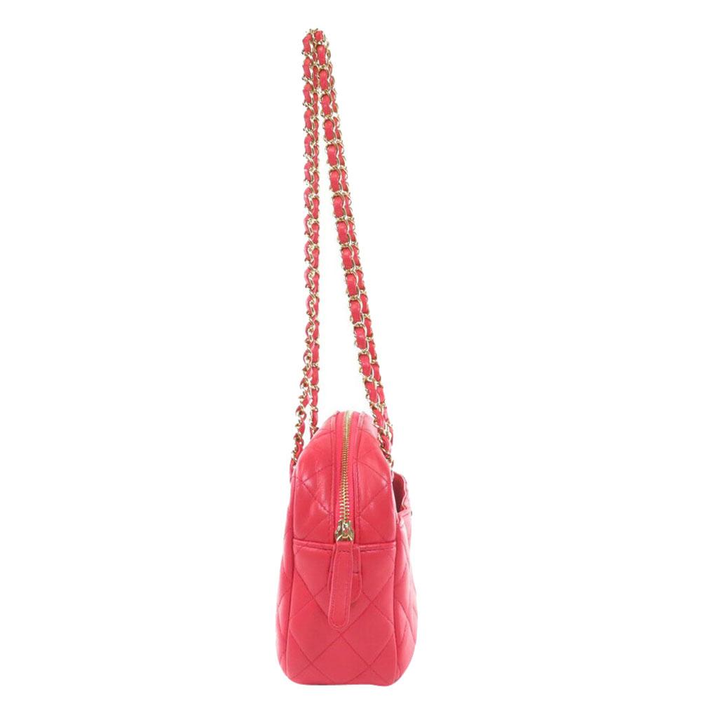 Chanel Red Lambskin Leather Shoulder Bag