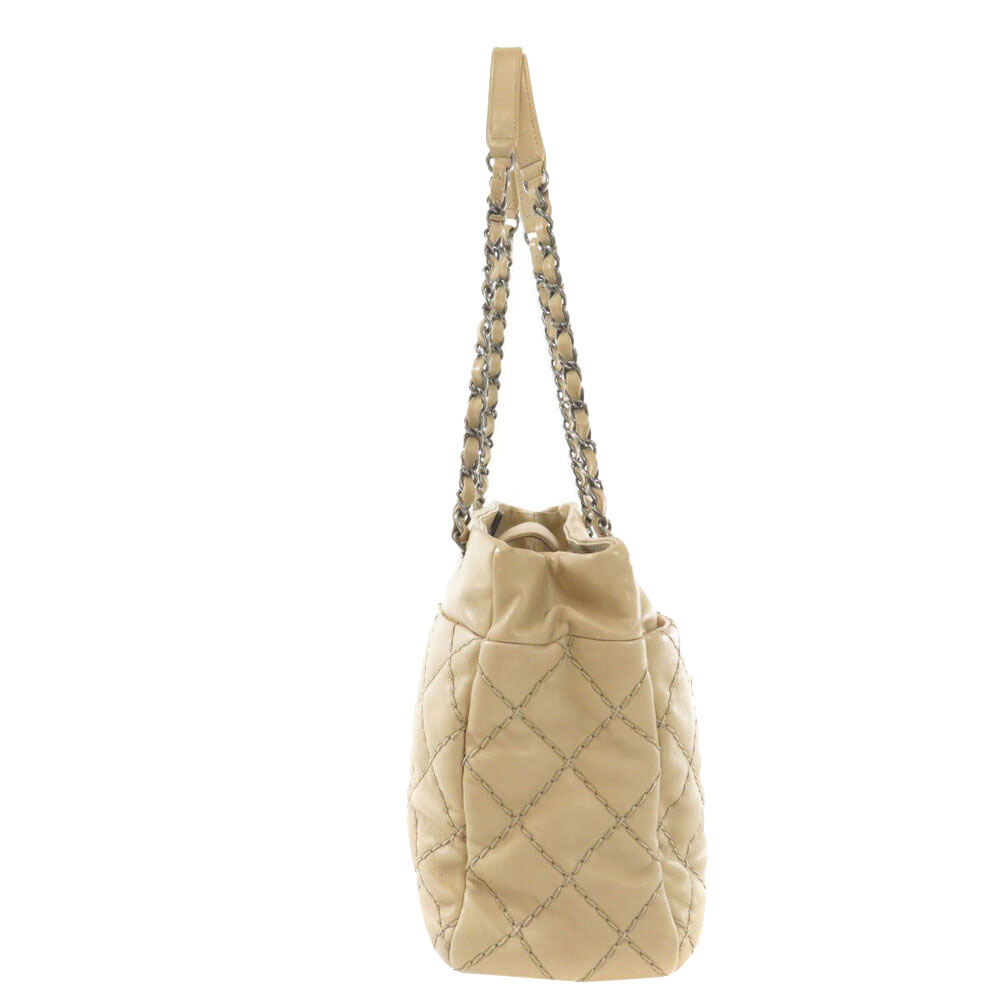 Chanel Beige Lambskin Leather Tote Bag