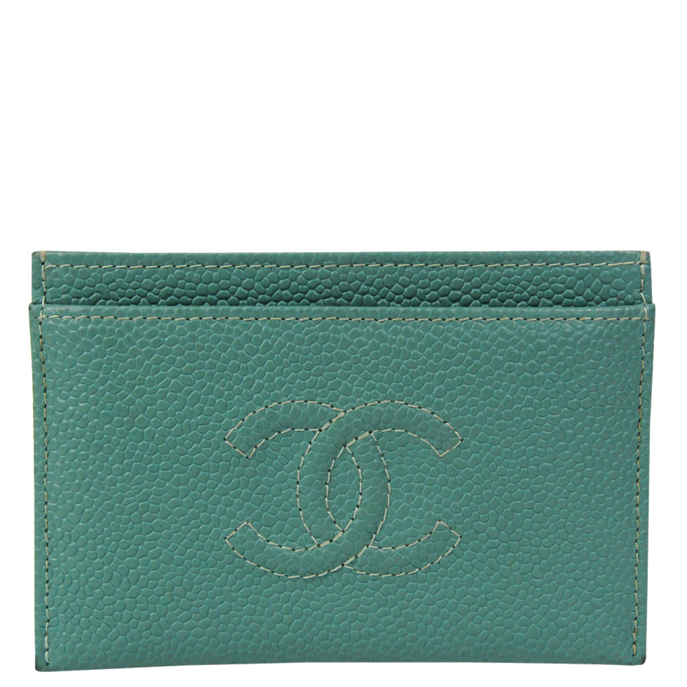 Pre-owned Chanel Green Caviar Leather Card Case