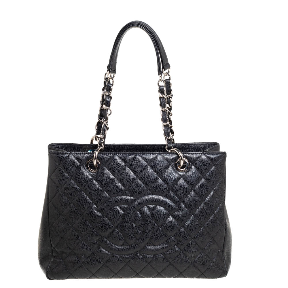 Pre-owned Chanel Black Quilted Caviar Leather Grand Shopping Tote