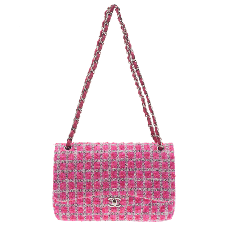 14720ba02b5f ... Chanel Pink Quilted Wool Tweed Jumbo Classic Double Flap Bag. nextprev.  prevnext