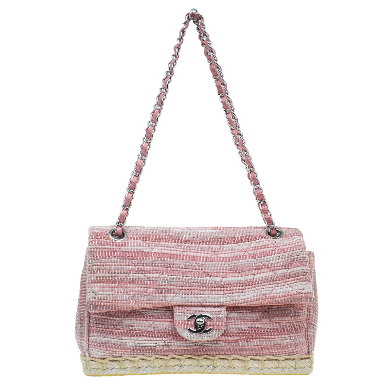 b08cffbfbd31 Chanel Pink Quilted Tweed Espadrille Chain Flap Bag 42966 At