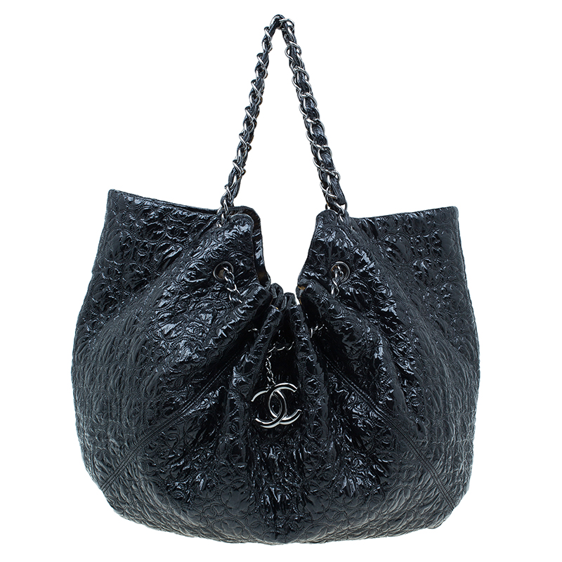 90f007938bc8 Buy Chanel Black Patent Leather Rock In Moscow Cabas Hobo Bag 43034 ...
