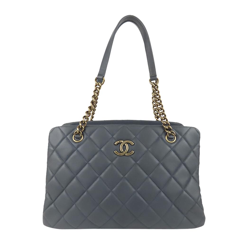 Pre-owned Chanel Blue Matelasse Caviar Chain Shoulder Bag