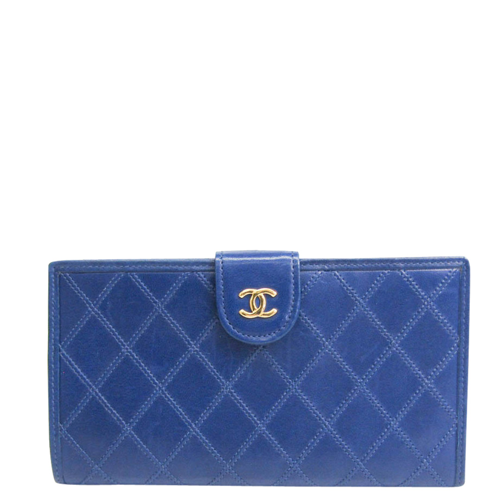 Pre-owned Chanel Blue Leather Cc Bifold Wallet