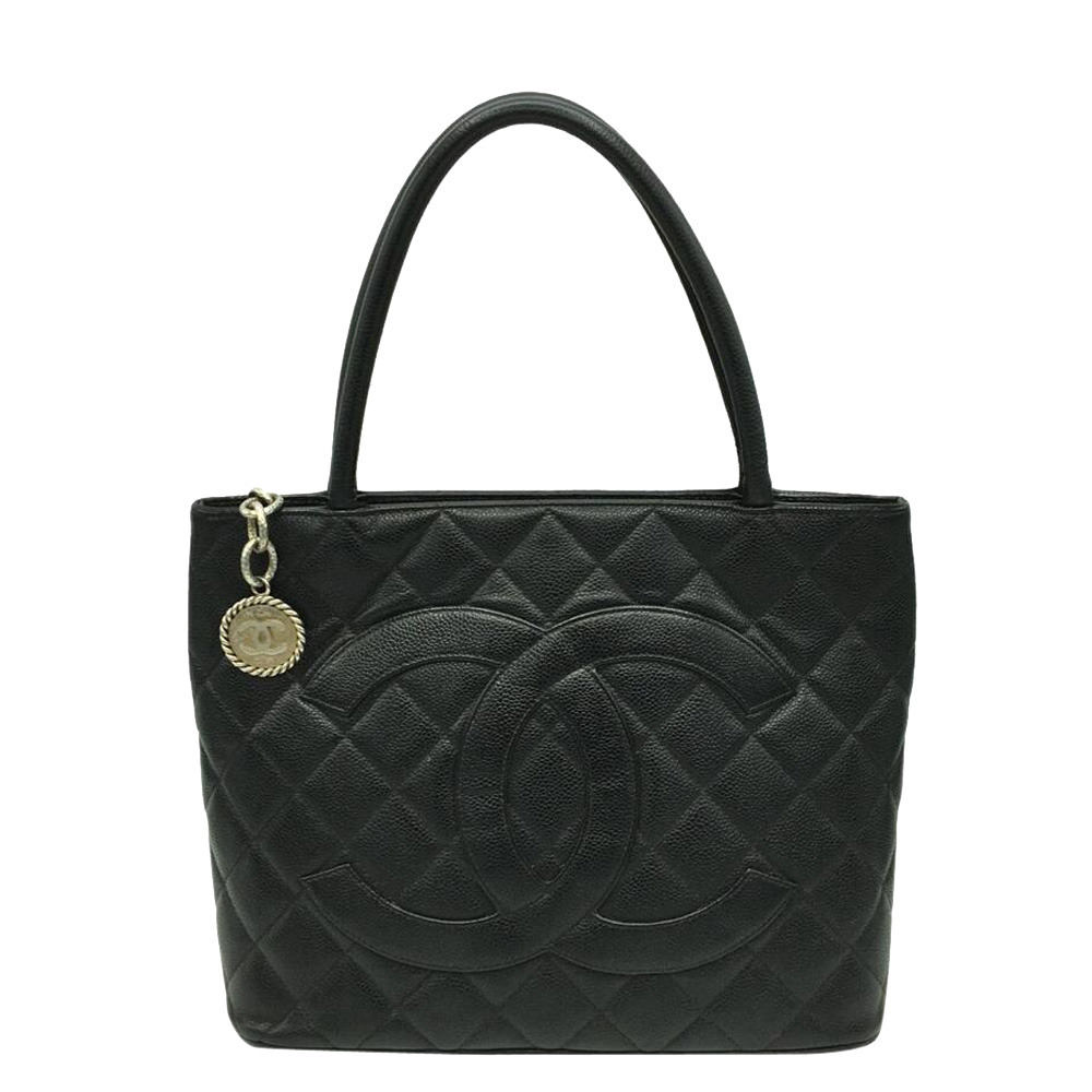 Pre-owned Chanel Black Caviar Leather Medallion Tote Bag