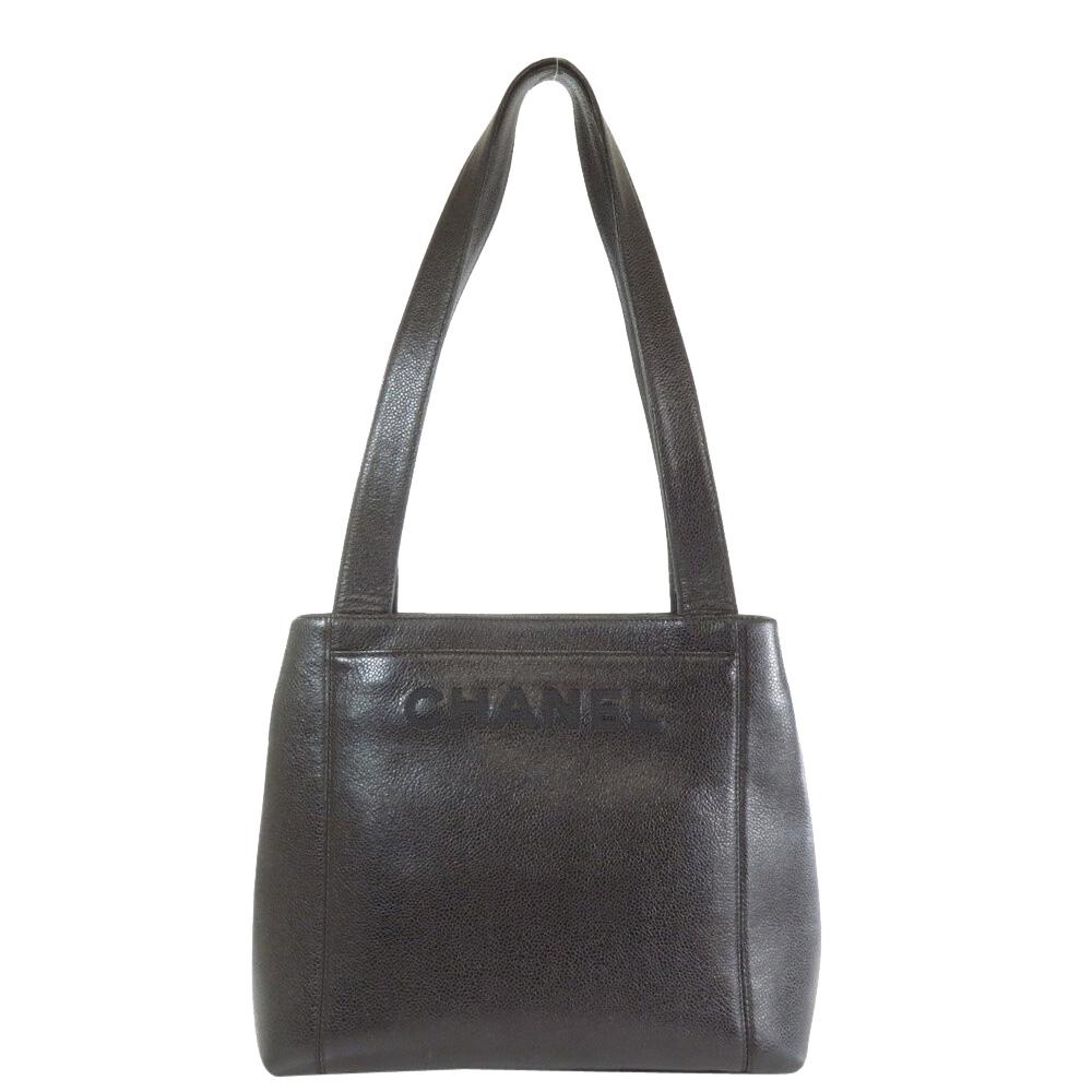 Pre-owned Chanel Black Leather Vintage Tote Bag