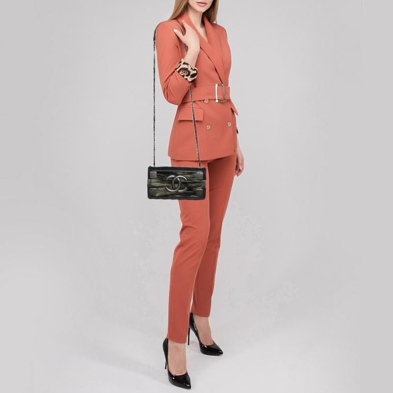 Chanel Black Plexiglass And Iridescent Leather East/West Boy Brick Flap Bag