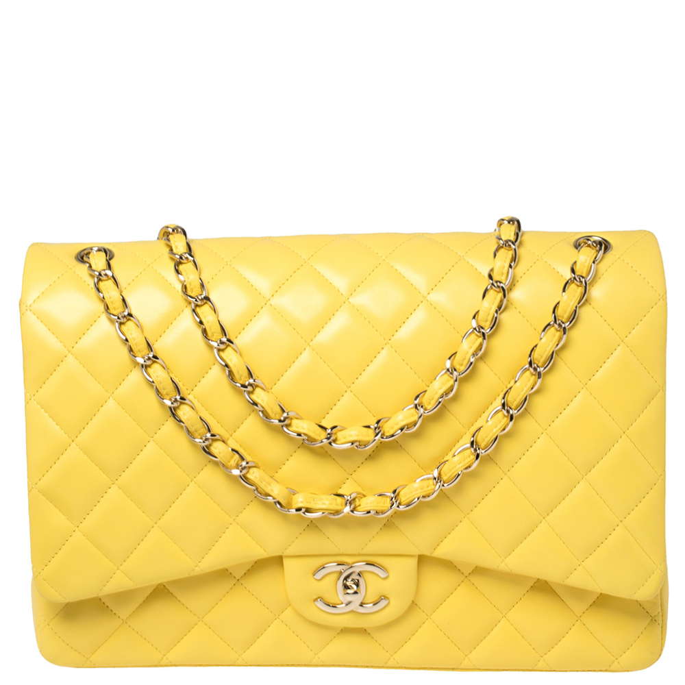 Pre-owned Chanel Yellow Quilted Leather Maxi Classic Double Flap Bag