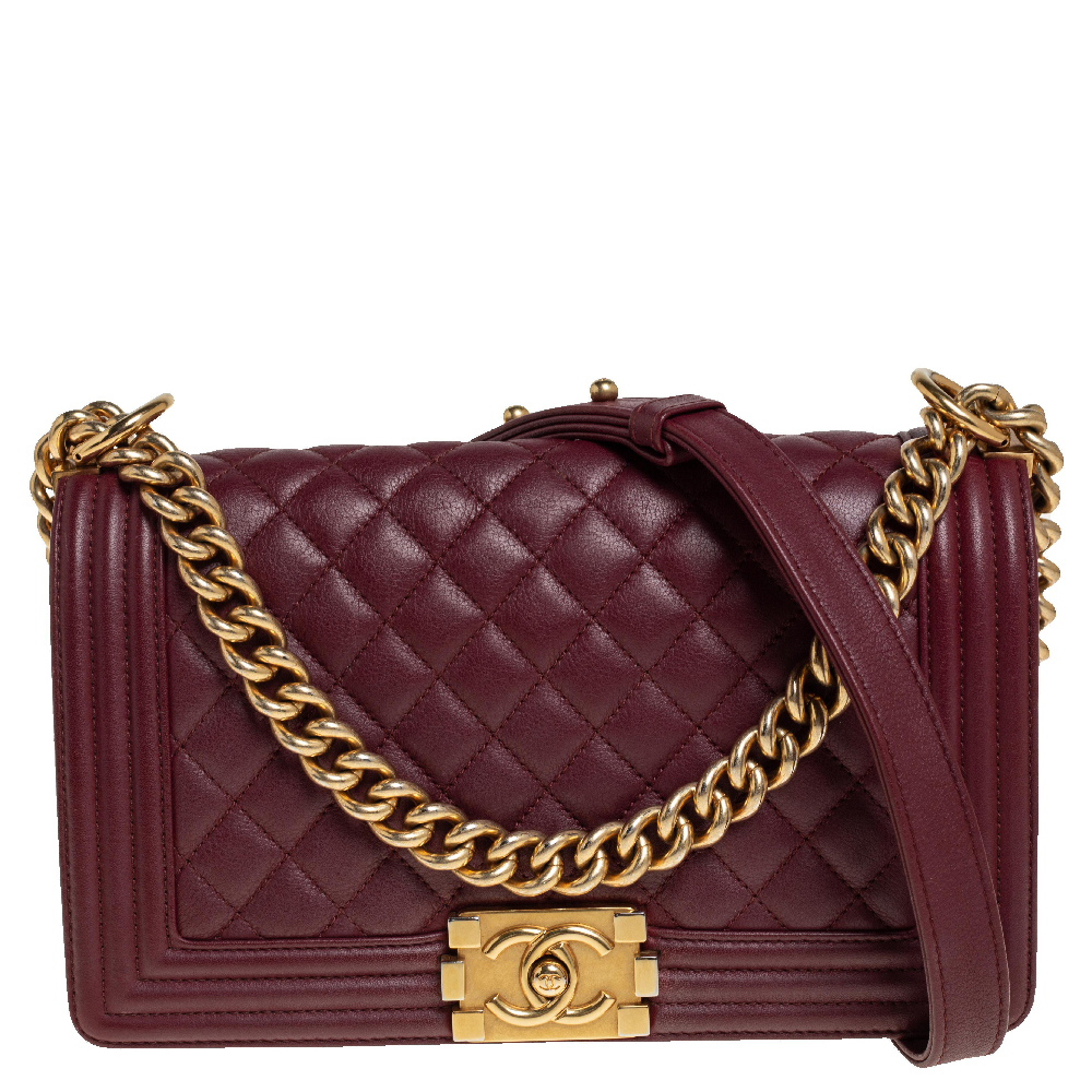 Pre-owned Chanel Maroon Quilted Leather Medium Boy Bag In Navy Blue