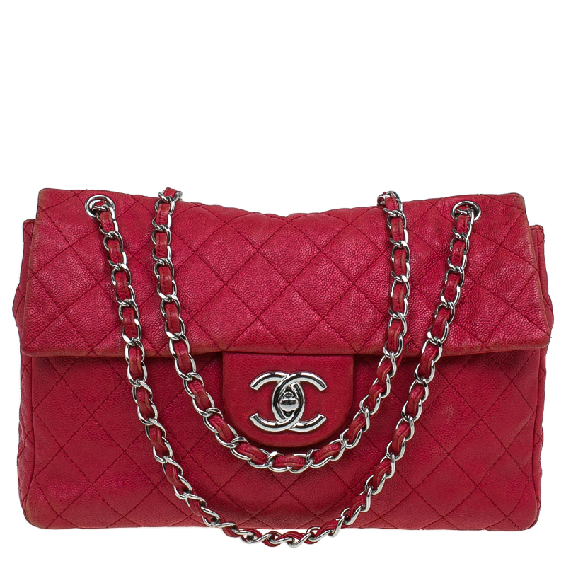 Buy Chanel Red Washed Caviar Leather Maxi Jumbo XL Classic Flap Bag ... 3bdc5e6c9c