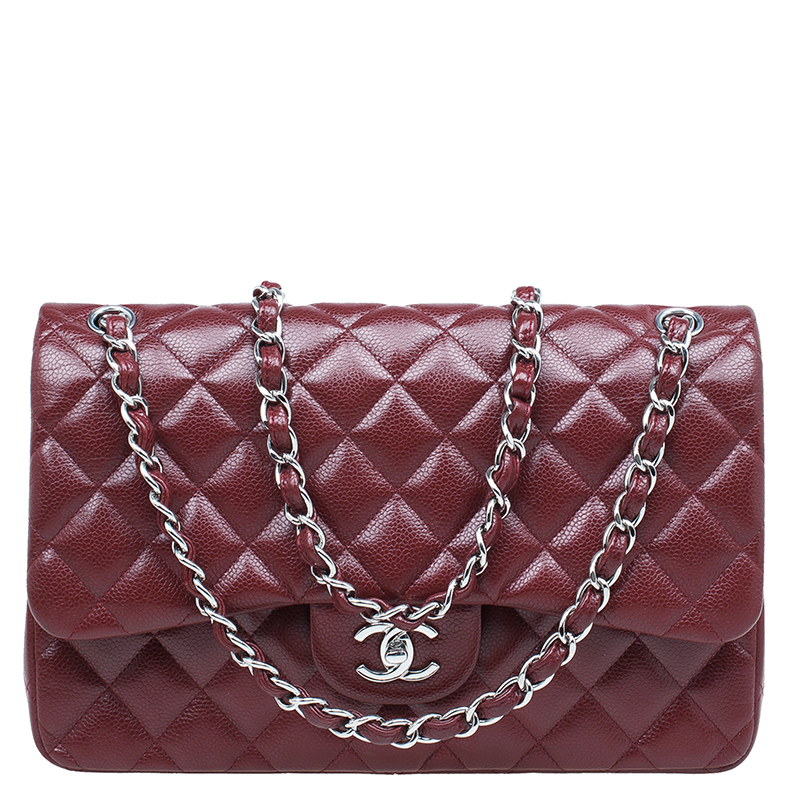 36d06671ab711b Buy Chanel Burgundy Quilted Caviar Leather Jumbo Classic Double Flap ...