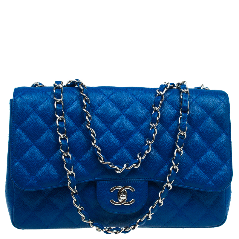 f38909dec236af Buy Chanel Blue Quilted Caviar Leather Jumbo Classic Single Flap Bag ...