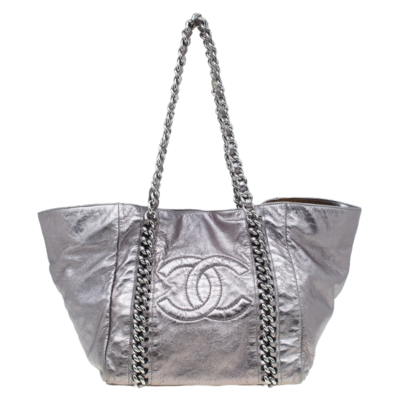 c5d30b98387338 Buy Chanel Silver Glazed Crackled Leather Small Modern Chain Tote 52252 at best  price | TLC